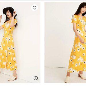 Puff Sleeve Wrap Midi Dress in Ikat Floral